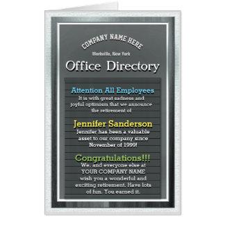 Tarjeta Directorio enorme de encargo de la oficina de la