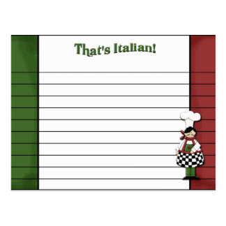 Tarjeta diseñada italiana de la receta postales