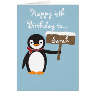 Tarjeta Diseño de la bufanda del pingüino que lleva lindo