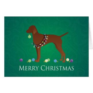 Tarjeta Diseño de las Felices Navidad del perro de Vizsla