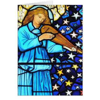 Tarjeta Diseño del ángel del vitral de William Morris