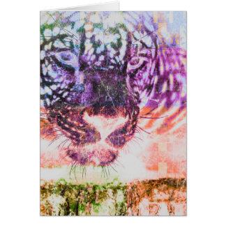 Tarjeta Diseño del gato de Jaguar del arco iris