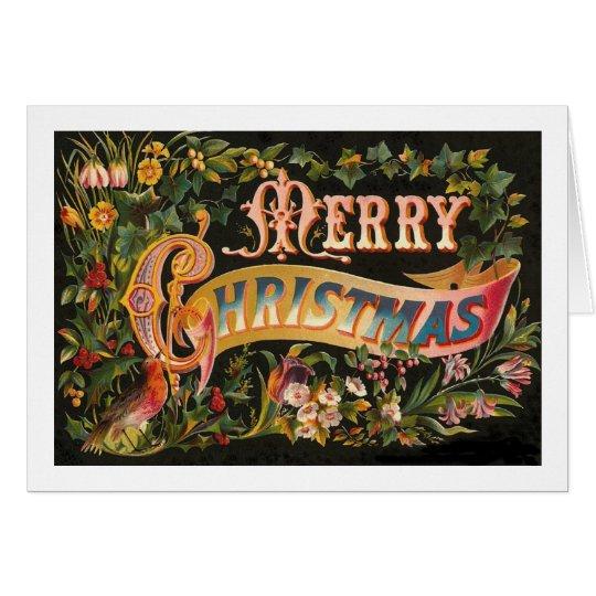 Tarjeta Diseño floral de las Felices Navidad del vintage