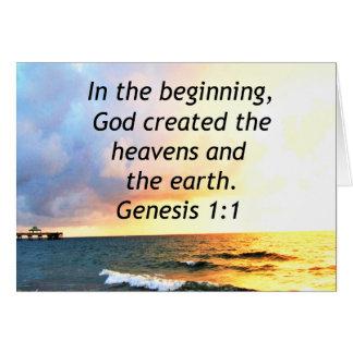 TARJETA DISEÑO HERMOSO DE LA CITA DE LA BIBLIA DEL 1:1 DE
