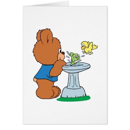 Tarjeta Diseño lindo del baño del oso y del pájaro