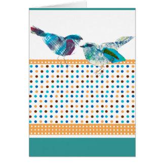 Tarjeta Diseño moderno del pájaro azul lindo del lunar