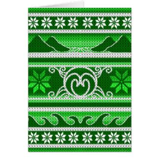 Tarjeta Diseño nórdico verde del invierno