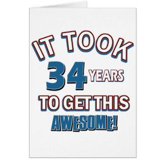 Tarjeta diseños del cumpleaños de 34 años