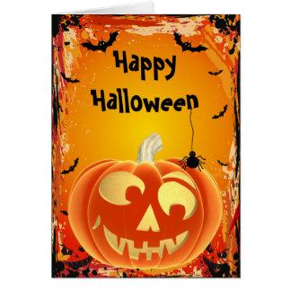 Tarjeta divertida de Halloween de la calabaza de