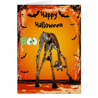Tarjeta divertida de Halloween de la jirafa y de