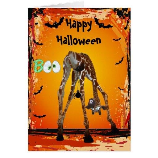 Tarjeta divertida de Halloween de la jirafa y de l