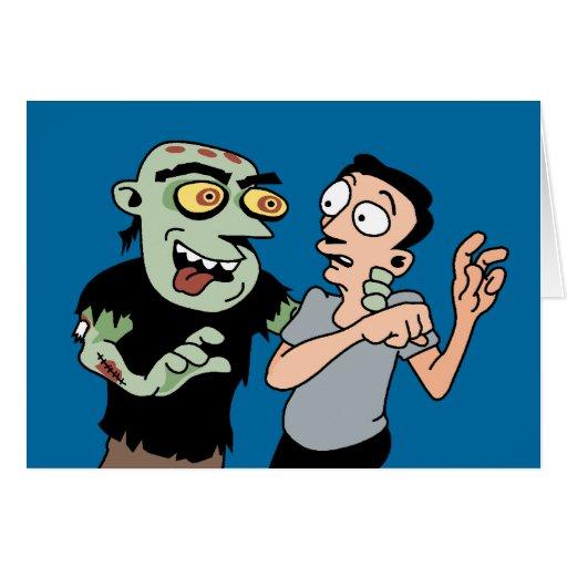 Tarjeta divertida de Halloween del zombi