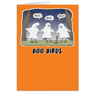 Tarjeta divertida de Halloween: Pájaros del abuche