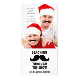 Tarjeta divertida de la foto del navidad del bigot tarjeta fotográfica