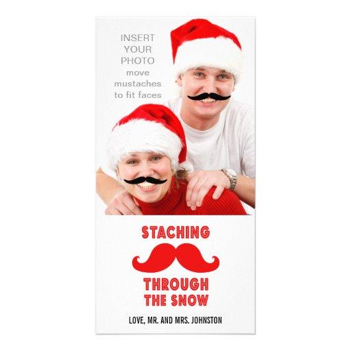 Tarjeta divertida de la foto del navidad del bigot tarjetas personales