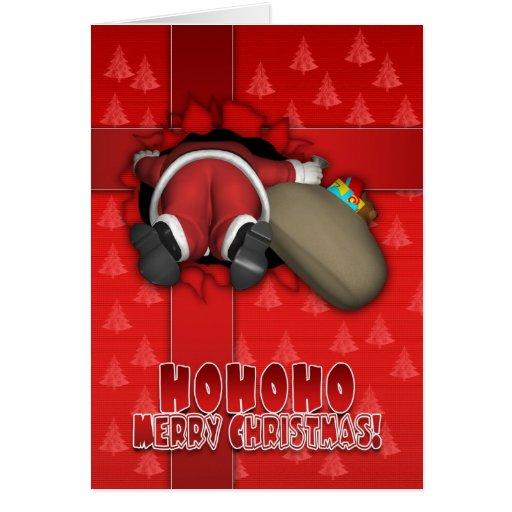Tarjeta divertida de las Felices Navidad - Santa c