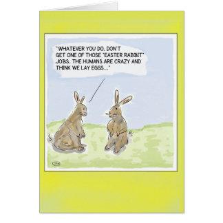 Tarjeta Tarjeta divertida de los conejos de Pascua del