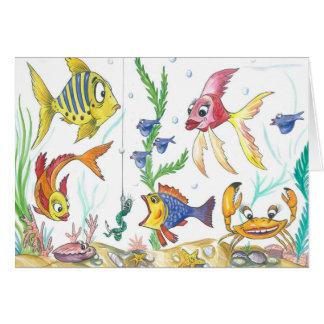 """Tarjeta divertida de los pescados """"debajo del mar"""