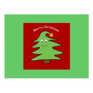 Tarjeta divertida del árbol de navidad postal