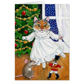 Tarjeta divertida del ballet del navidad del gato