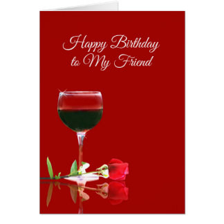 Tarjeta divertida del feliz cumpleaños del vino