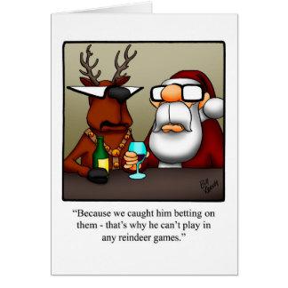 Tarjeta divertida del humor de los juegos del reno