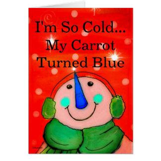 Tarjeta divertida del muñeco de nieve, rojo de la