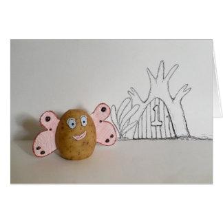 Tarjeta divertida del número de casa de la patata