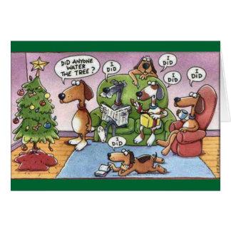 Tarjeta divertida del perro del navidad