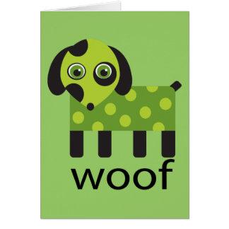 Tarjeta divertida del perro del tejido