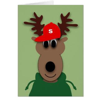 Tarjeta divertida del reno del navidad