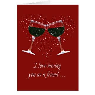 Tarjeta divertida del vino de la amistad