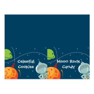 Tarjeta doblada etiqueta de la comida del espacio