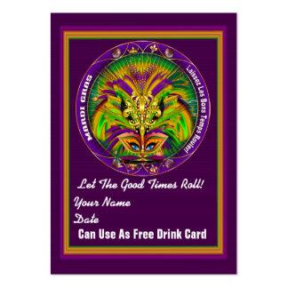 Tarjeta doble del tiro del carnaval de la reina tarjetas de visita grandes
