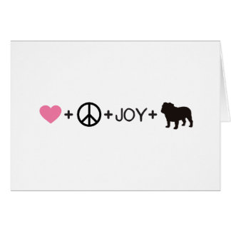 Tarjeta Dogo del inglés de la alegría de la paz del amor