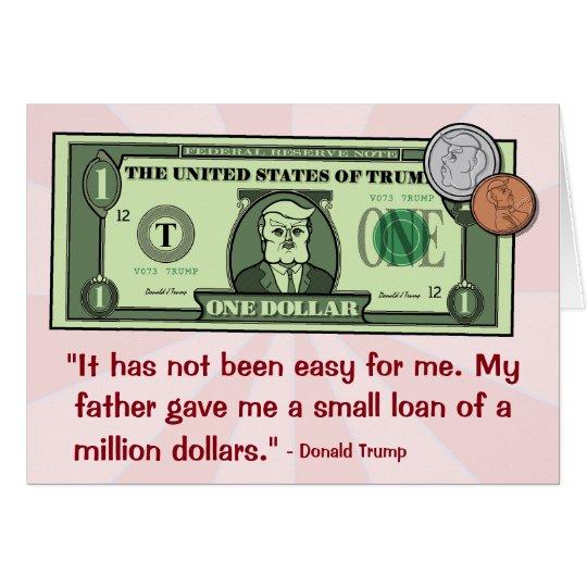 Tarjeta Donald Trump como billete de dólar