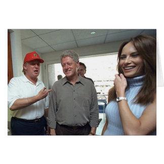 Tarjeta Donald y triunfo y Bill Clinton de Melania