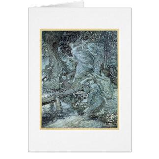 Tarjeta Doncellas en un bosque (espacio en blanco dentro)