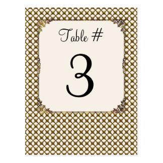 Tarjeta dorada adornada del número de la tabla del