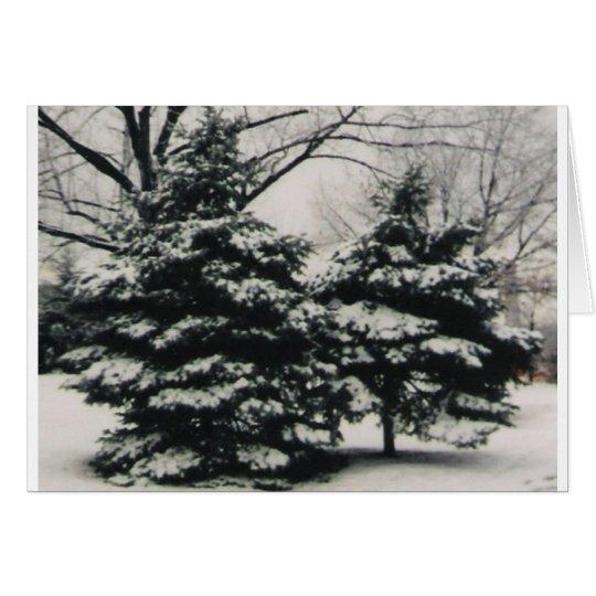 Tarjeta Dos árboles en el invierno (tarjeta de
