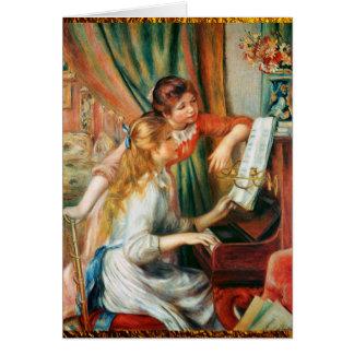 Tarjeta Dos chicas en el piano por Renoir