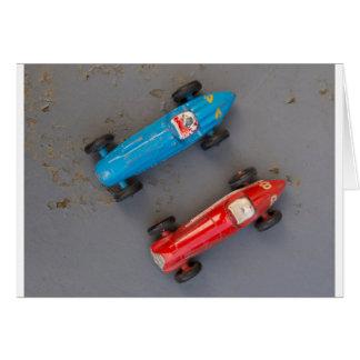 Tarjeta Dos coches del vintage del juguete