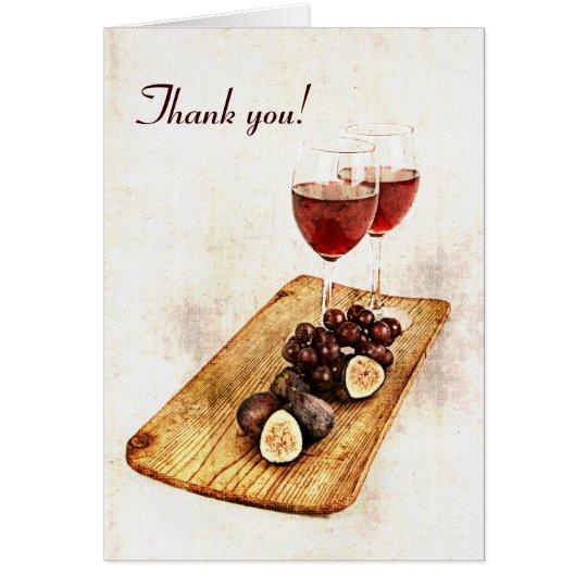 Tarjeta Dos copas de vino y frutas - gracias