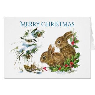 Tarjeta Dos Felices Navidad de los conejitos lindos