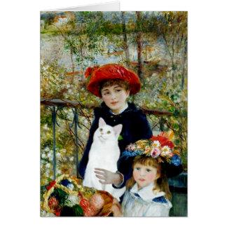 Tarjeta Dos hermanas - gato de pelo corto blanco