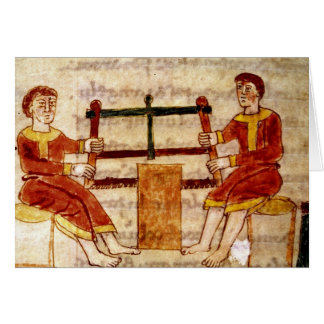 Tarjeta Dos hombres que asierran la madera, de 'De