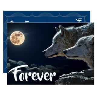 Tarjeta Dos lobos grises y boda de la Luna Llena