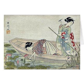 Tarjeta Dos mujeres que recolectan el loto por Suzuki,