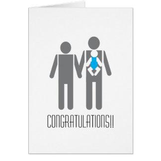 Tarjeta ¡Dos papás y un hijo - enhorabuena!!