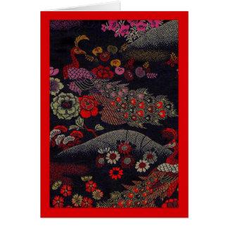 Tarjeta Dos pavos reales en la tela de seda de la brujería